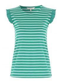 Womens Green Frill Stripe Vest