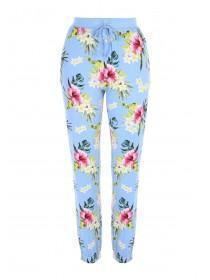 Womens Blue Floral Lounge Trousers