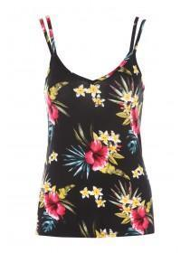 Womens Black Floral Cami Lounge Top