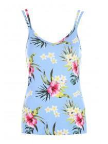Womens Blue Floral Cami Lounge Top