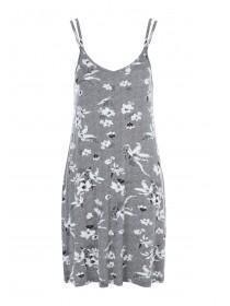 Womens Grey Floral Print Chemise