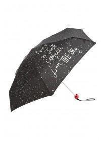 Womens Black Slogan Mini Umbrella