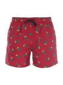 Mens Red Cactus Print Swimshorts