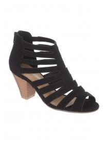 Womens Black Strappy Cone Heels