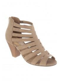 Womens Taupe Strappy Cone Heels