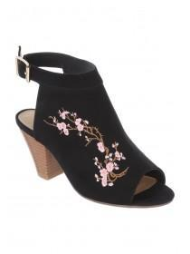 Womens Black Embroidery Cut Out Heel