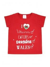 Younger Girls Red Wales T-Shirt