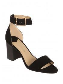 Womens Black Ankle Strap Block Heels