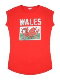 Older Girls Red Wales Sequin T-Shirt