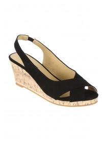 Womens Black Cross Strap Wedges