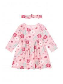 Baby Girls Pink Floral Print Dress Set