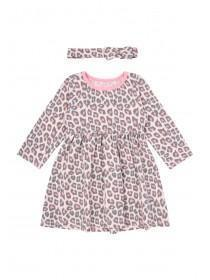 Baby Girls Pink Leopard Print Dress Set