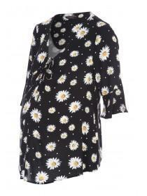Maternity Black Floral Blouse