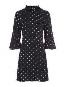 Womens Monochrome Spot Shift Dress