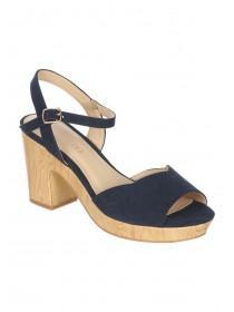 Womens Navy Wooden Clog Heels