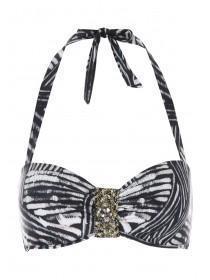 Womens Monochrome Embellished Bikini Top