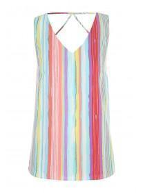Womens Multicolour Lattice Back Vest Top