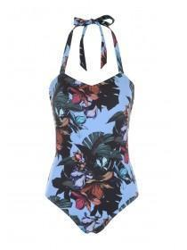 Womens Blue Tropical Bandeau Swimsuit