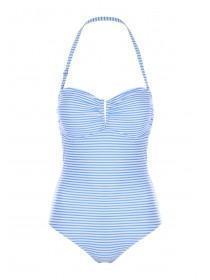 Womens Blue Stripe Bandeau Swimsuit
