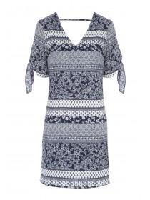 Womens Blue Paisley Dress
