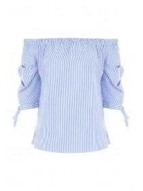Womens Blue Stripe Bardot Top