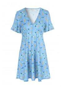 Womens Blue Floral Tea Dress