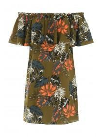 Womens Khaki Floral Bardot Dress