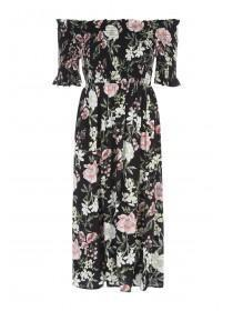 Womens Floral Bardot Dress