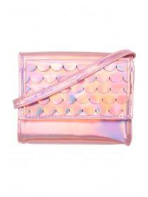 Older Girls Pink Metallic Scale Cross Body Bag