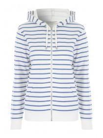 Womens Blue Stripe Zip Hoody