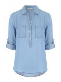 Womens Blue Half Placket Roll Sleeve Shirt