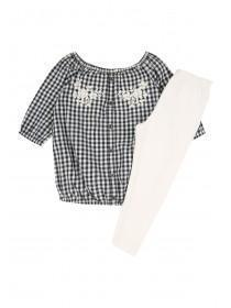 Younger Girls Navy Gingham Top and Legging Set