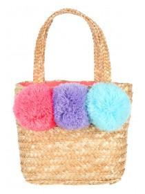 Younger Girls Tan Straw Shopper Bag
