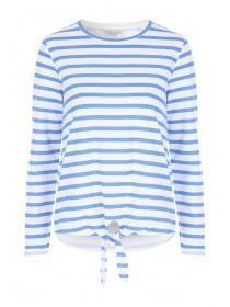 Womens Blue Stripe Knot Front Sweater