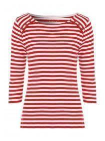 Womens Red and White Stripe Top