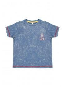 Younger Boys Blue Acid Wash T-Shirt