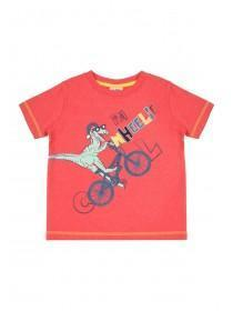 Younger Boys Red Dinosaur Slogan T-Shirt