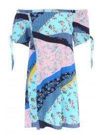 Womens Blue Mixed Print Bardot Dress
