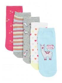 Womens 5pk Llama Trainer Socks