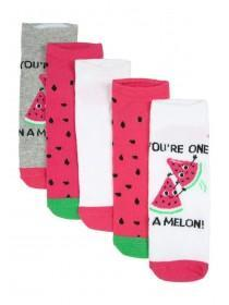 Womens 5pk Fruit Trainer Socks