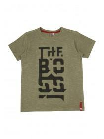Older Boys Green Embossed Slogan T-shirt