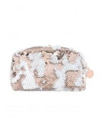 Womens Rose Gold Flip Sequin Cosmetic Bag