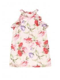 Younger Girls Pink Floral Frill Dress