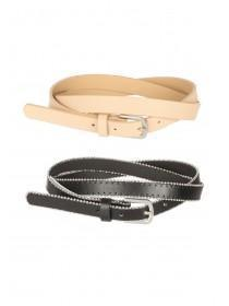 Womens 2pk Skinny Belts