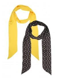 Womens 2pk Gold and Spot Skinny Scarves