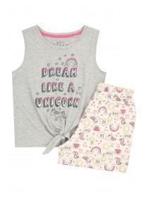 Older Girls Grey Unicorn Pyjama Set