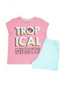 Older Girls Pink Tropical Pyjama Set
