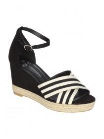 Womens Monochrome Wide Fit Stripe Wedges