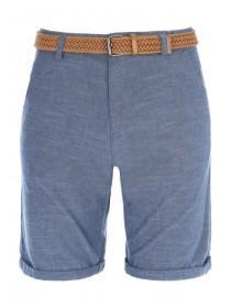 Mens Blue Oxford Shorts With Brown Belt