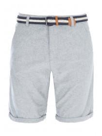 Mens Grey Oxford Shorts With Stripy Belt